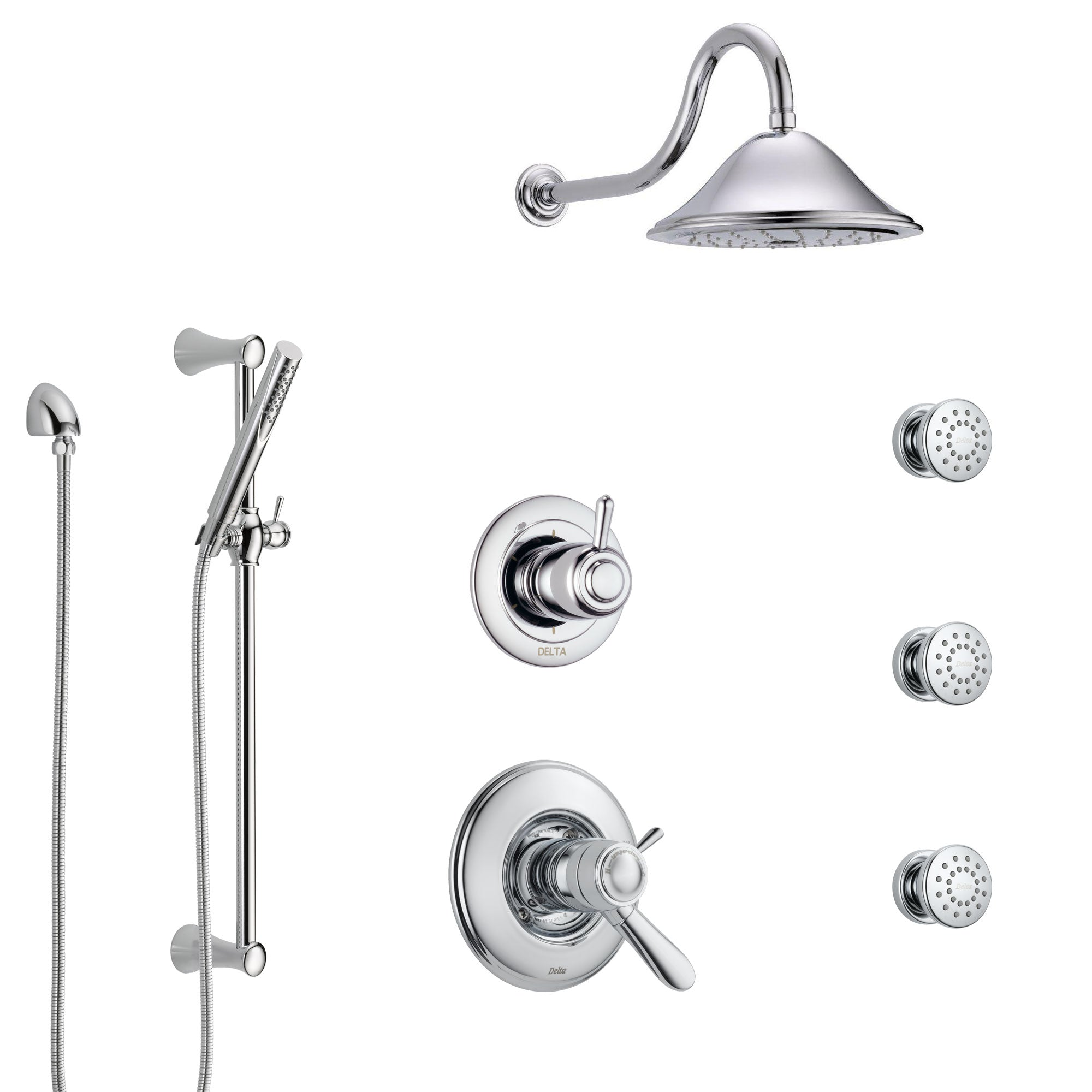 Delta Lahara Chrome Shower System with Dual Thermostatic Control Handle, 6-Setting Diverter, Showerhead, 3 Body Sprays, and Hand Shower SS17T3825