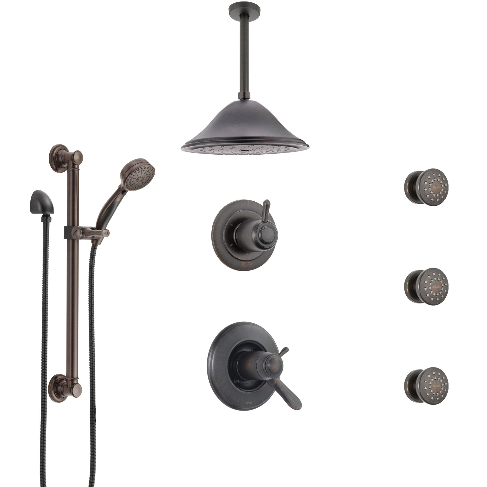 Delta Lahara Venetian Bronze Dual Thermostatic Control Shower System, Diverter, Ceiling Showerhead, 3 Body Sprays, and Grab Bar Hand Spray SS17T382RB7
