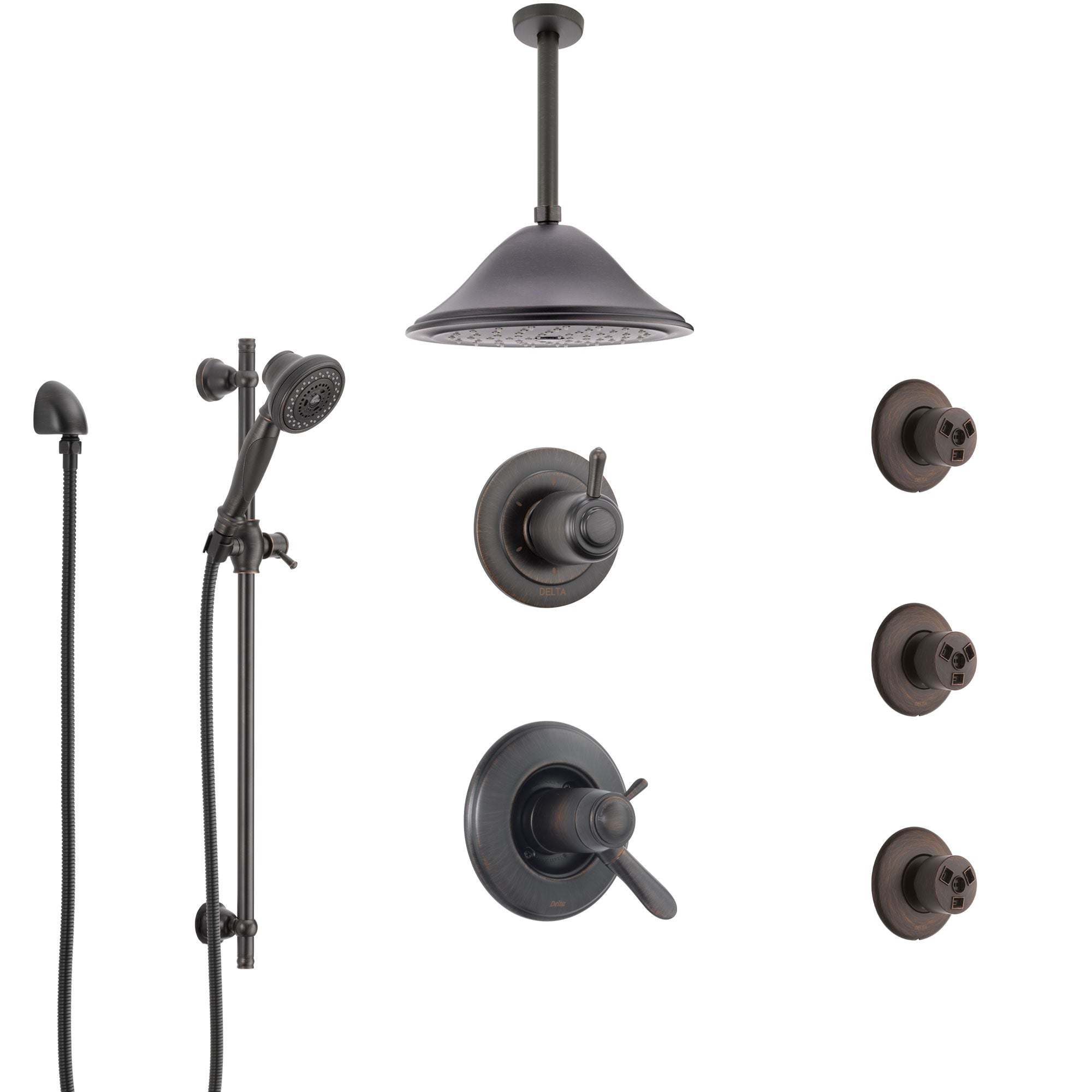 Delta Lahara Venetian Bronze Shower System with Dual Thermostatic Control, Diverter, Ceiling Showerhead, 3 Body Sprays, and Hand Shower SS17T382RB8