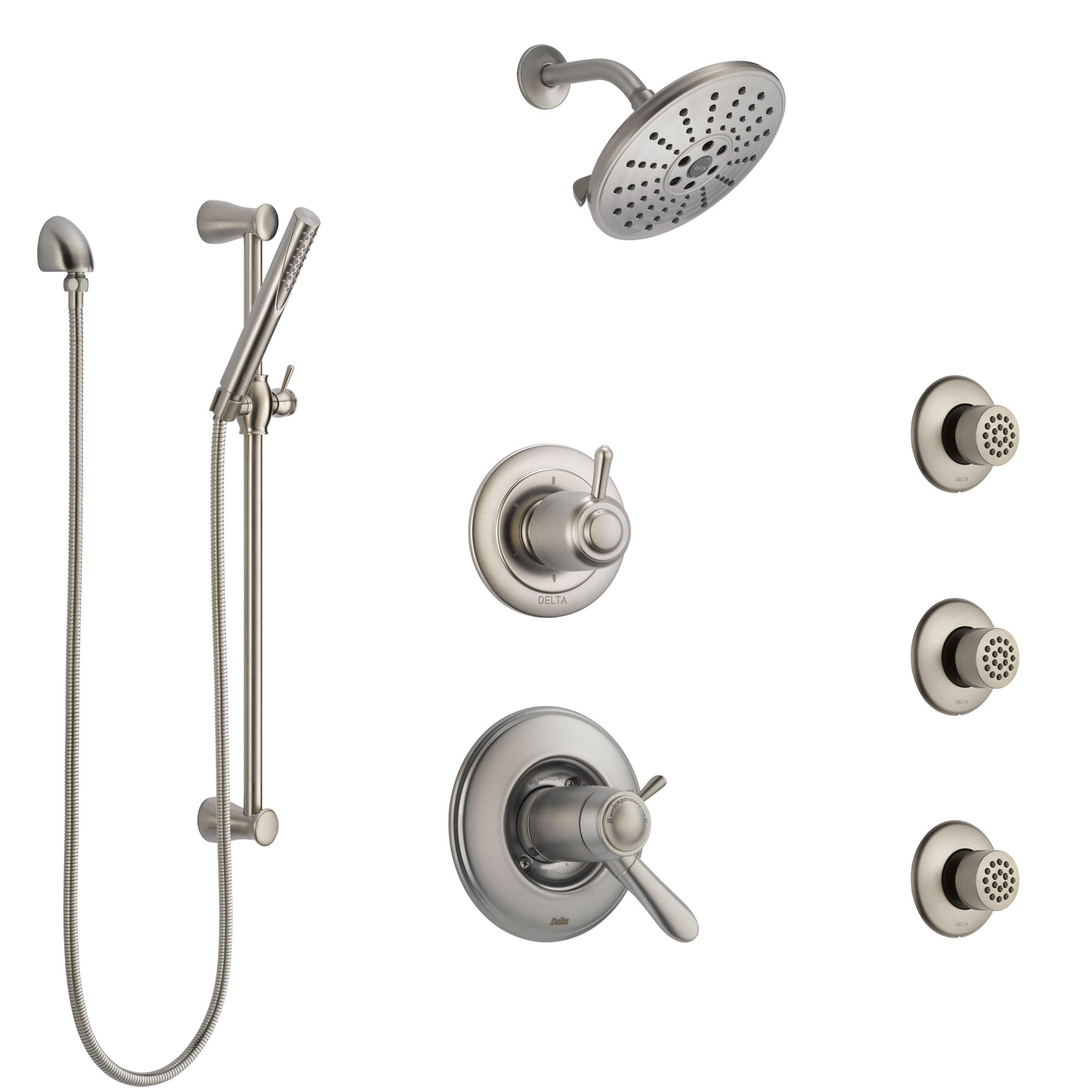 Delta Lahara Dual Thermostatic Control Stainless Steel Finish Shower S Faucetlist Com