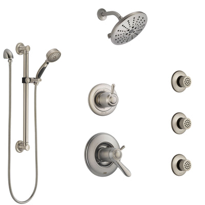 Delta Lahara Dual Thermostatic Control Stainless Steel Finish Shower System, Diverter, Showerhead, 3 Body Sprays, and Grab Bar Hand Shower SS17T382SS2