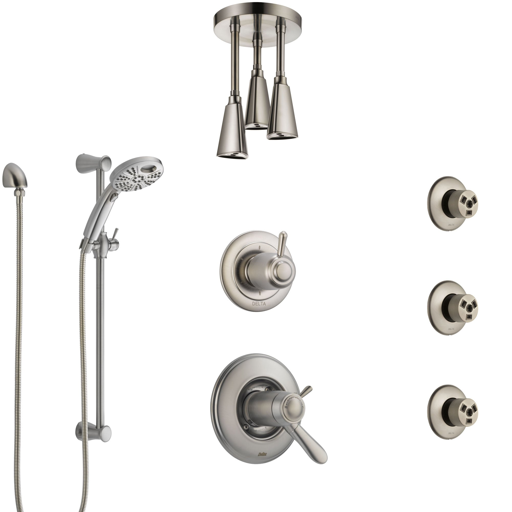 Delta Lahara Thermostatic Control Stainless Steel Finish Shower System, Diverter, Ceiling Showerhead, 3 Body Sprays, & Temp2O Hand Shower SS17T382SS4