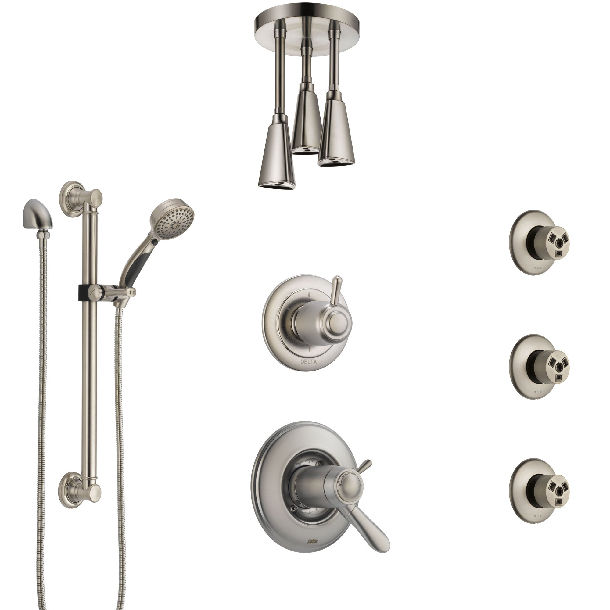 Delta Lahara Dual Thermostatic Control Stainless Steel Finish Shower System with Ceiling Showerhead, 3 Body Jets, Grab Bar Hand Spray SS17T382SS5
