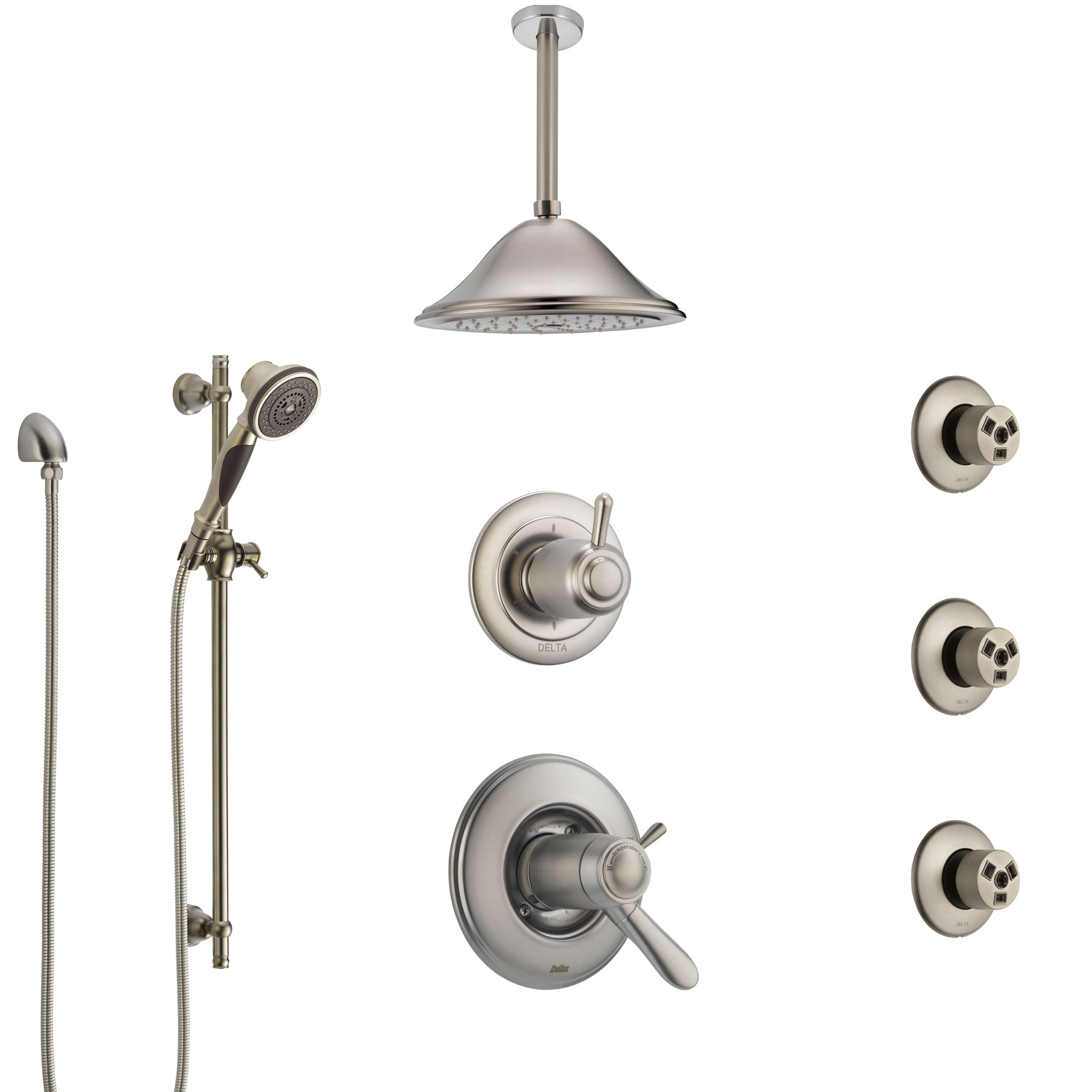 Delta Lahara Dual Thermostatic Control Stainless Steel Finish Shower System, Diverter, Ceiling Showerhead, 3 Body Sprays, and Hand Shower SS17T382SS7