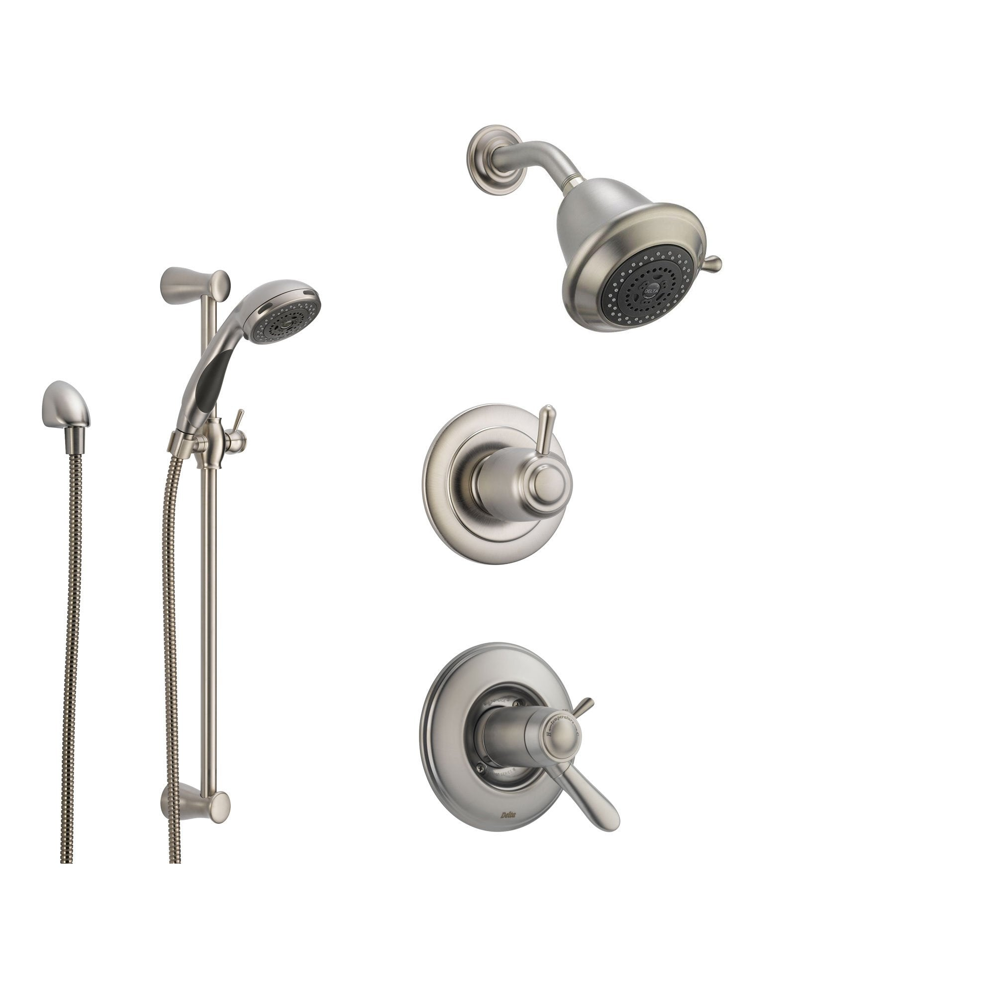 Beautiful Delta Lahara Stainless Steel Shower System With Thermostatic Shower Handle,  3 Setting Diverter,