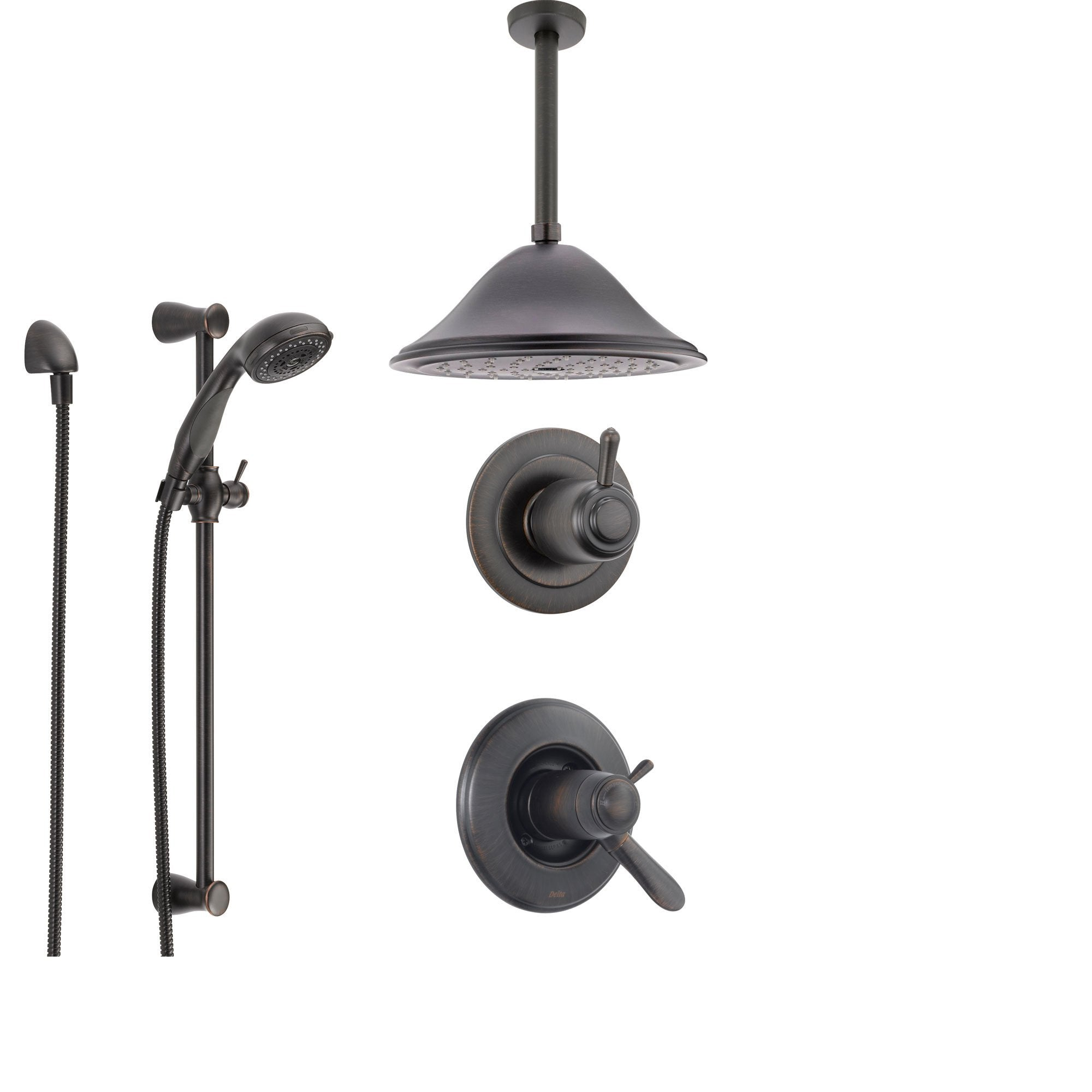 Delta Lahara Venetian Bronze Shower System with Thermostatic Shower Handle, 3-setting Diverter, Large Ceiling Mount Rain Showerhead, and Handheld Shower SS17T3883RB
