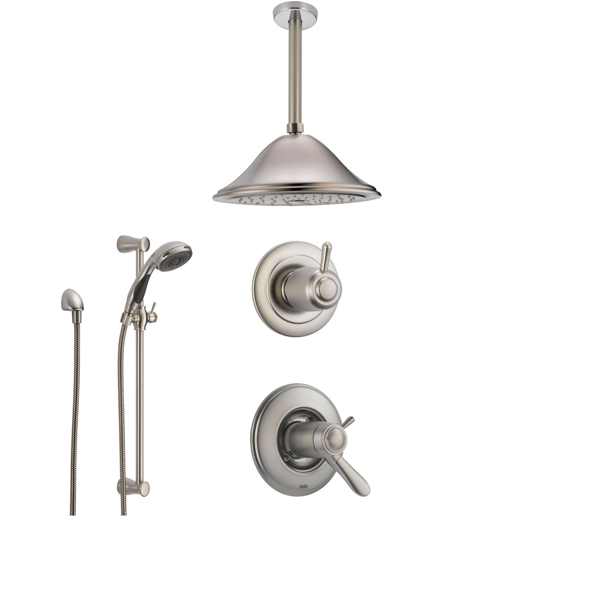 Delta Lahara Stainless Steel Shower System with Thermostatic Shower Handle, 3-setting Diverter, Large Ceiling Mount Rain Showerhead, and Handheld Shower Spray SS17T3883SS