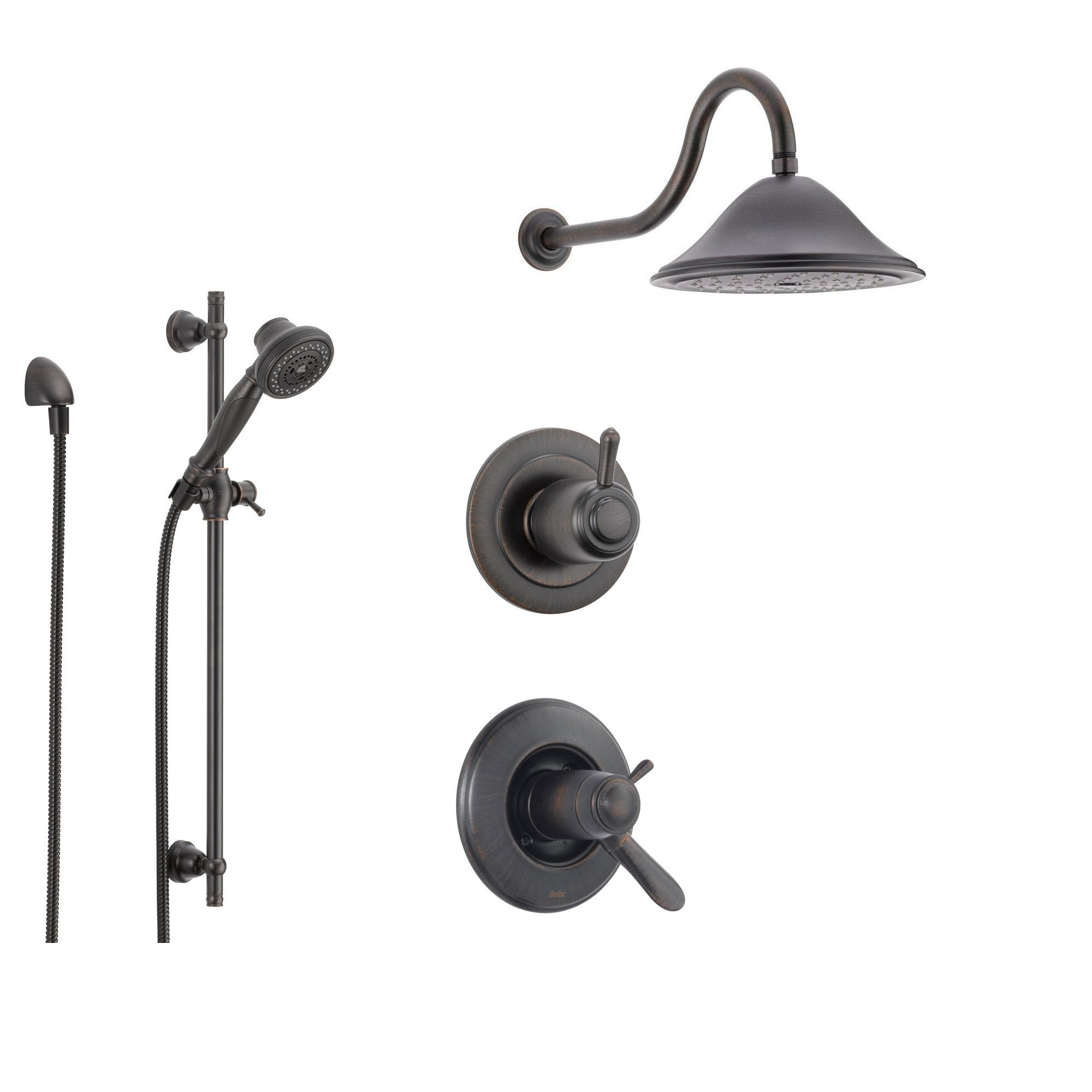 Delta Lahara Venetian Bronze Shower System with Thermostatic Shower Handle, 3-setting Diverter, Large Rain Shower Head, and Handheld Spray SS17T3884RB