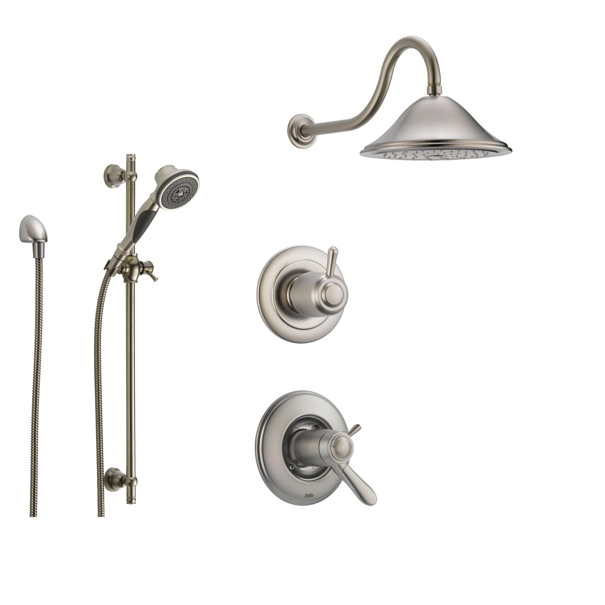 Delta Lahara Stainless Steel Shower System with Thermostatic Shower Handle, 3-setting Diverter, Large Rain Showerhead, and Handheld Shower SS17T3884SS