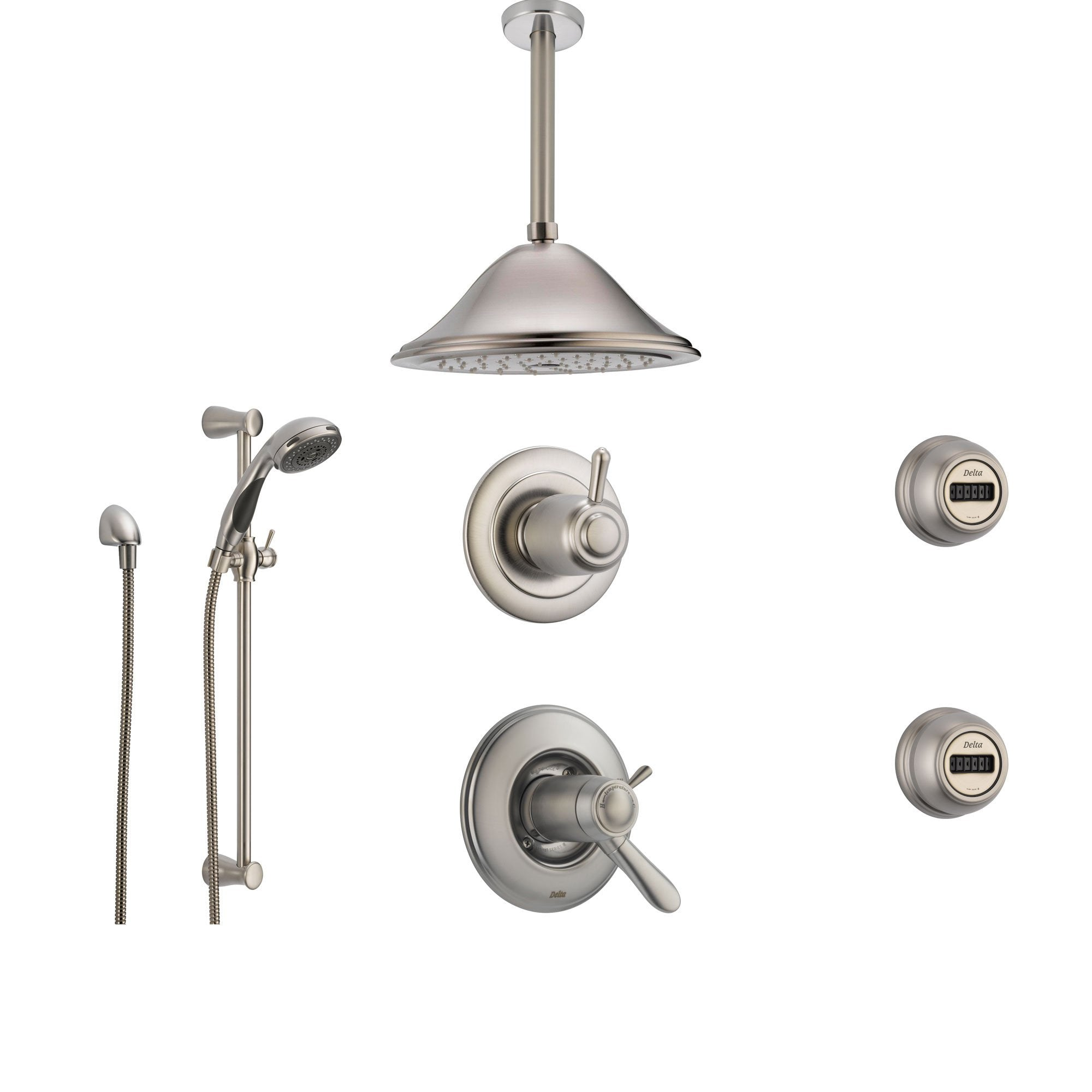 Delta Lahara Stainless Steel Shower System with Thermostatic Shower Handle, 6-setting Diverter, Large Ceiling Mount Rain Showerhead, Handheld Shower, and 2 Body Sprays SS17T3894SS