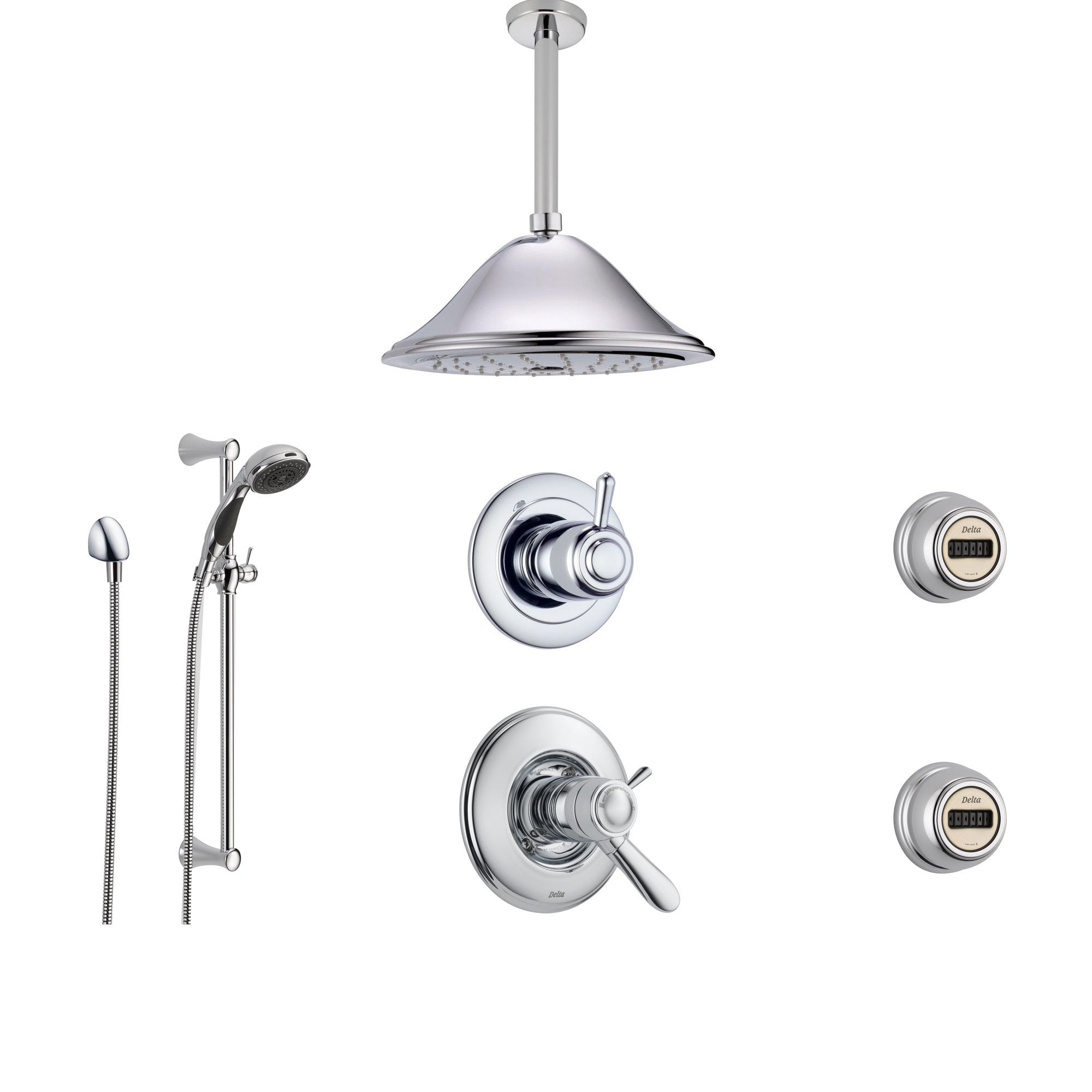 Delta Lahara Chrome Shower System with Thermostatic Shower Handle, 6-setting Diverter, Large Ceiling Mount Rain Showerhead, Handheld Shower Spray, and 2 Body Sprays SS17T3894