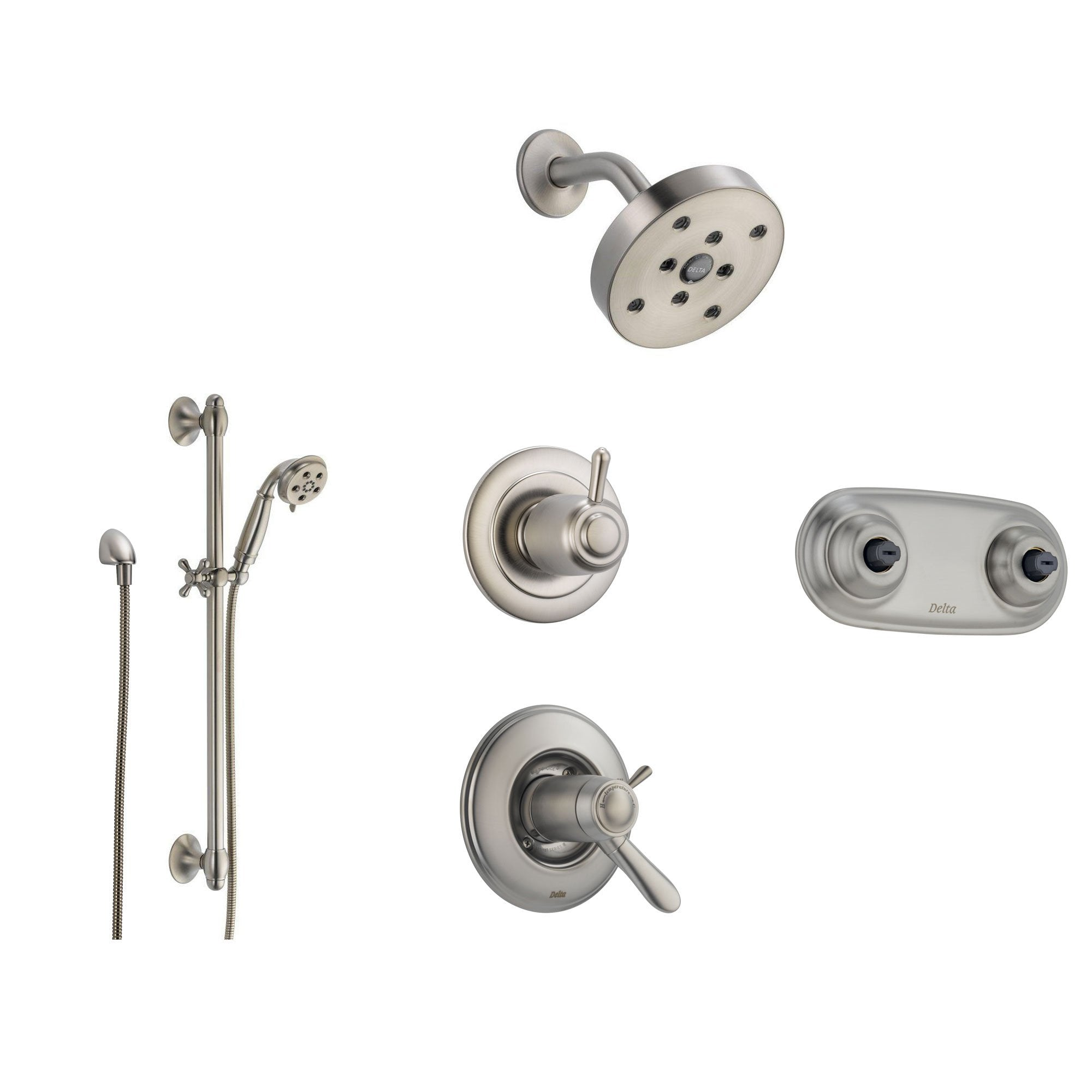Delta Lahara Stainless Steel Shower System With Thermostatic Shower Handle,  6 Setting Diverter,