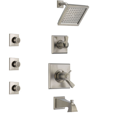 Delta Dryden Stainless Steel Finish Tub and Shower System with Dual Thermostatic Control Handle, Diverter, Showerhead, and 3 Body Sprays SS17T4511SS1
