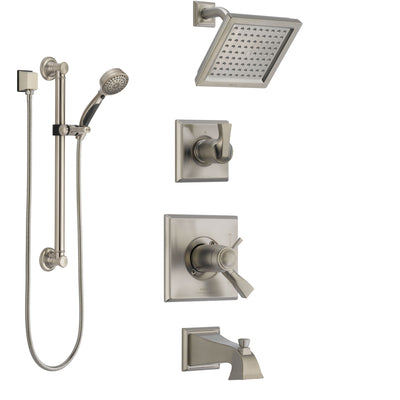 Delta Dryden Stainless Steel Finish Dual Thermostatic Control Tub and Shower System, Diverter, Showerhead, and Hand Shower with Grab Bar SS17T4511SS3