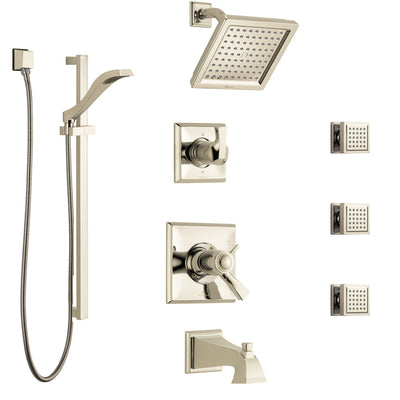 Delta Dryden Polished Nickel Tub and Shower System with Dual Thermostatic Control, Diverter, Showerhead, 3 Body Sprays, and Hand Shower SS17T4512PN1