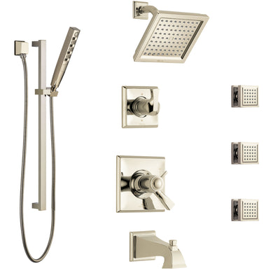Delta Dryden Polished Nickel Tub and Shower System with Dual Thermostatic Control, Diverter, Showerhead, 3 Body Sprays, and Hand Shower SS17T4512PN3