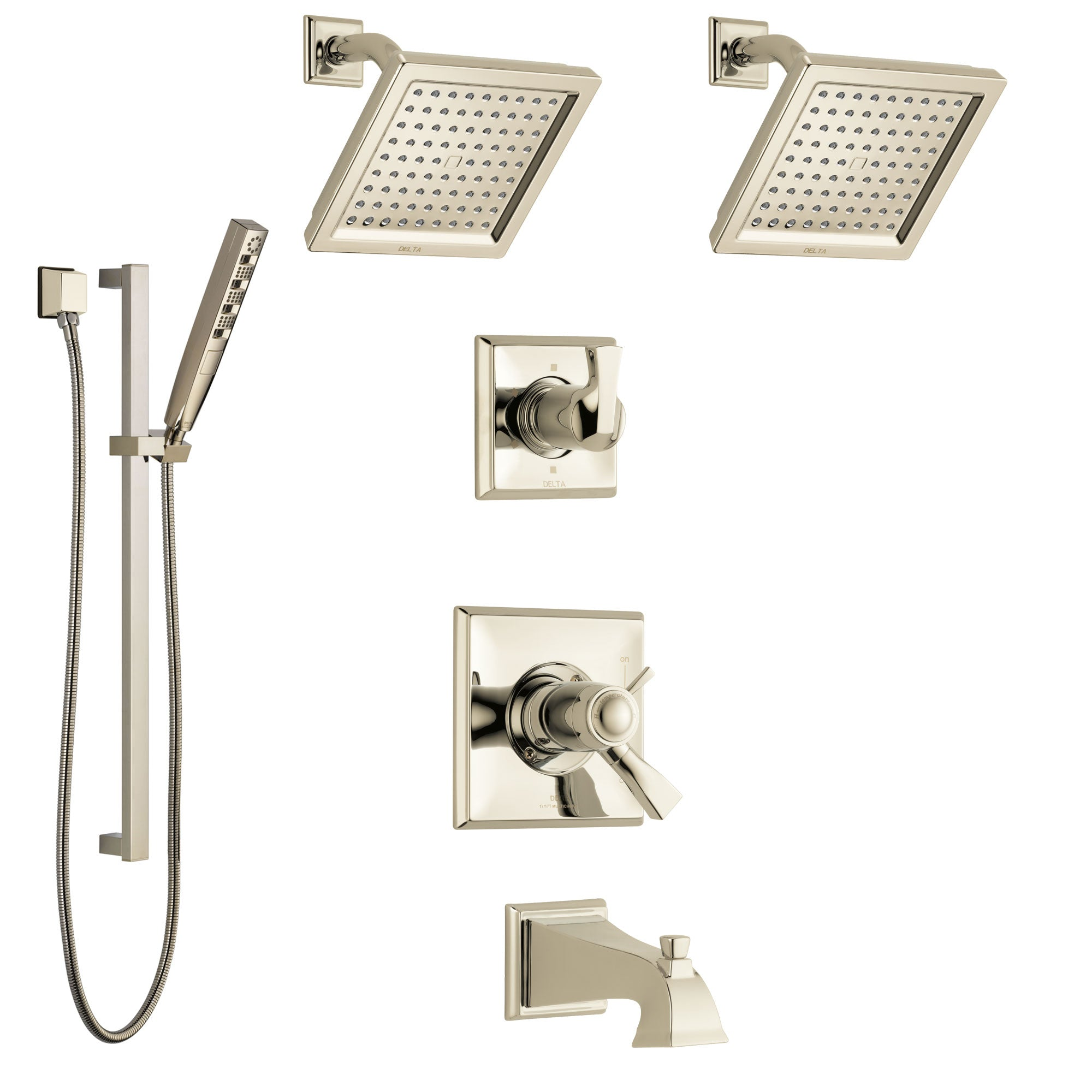 Delta Dryden Polished Nickel Tub and Shower System with Dual Thermostatic Control Handle, 6-Setting Diverter, 2 Showerheads, Hand Shower SS17T4512PN4