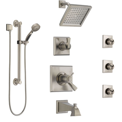 Delta Dryden Stainless Steel Finish Dual Thermostatic Control Tub and Shower System with Showerhead, 3 Body Jets, Grab Bar Hand Spray SS17T4512SS1