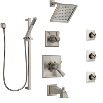 Delta Dryden Stainless Steel Finish Dual Thermostatic Control Tub and Shower System, Diverter, Showerhead, 3 Body Sprays, and Hand Shower SS17T4512SS4