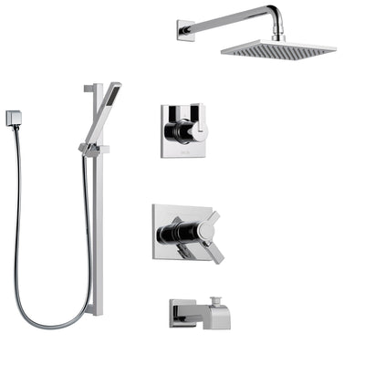 Delta Vero Chrome Finish Tub and Shower System with Dual Thermostatic Control Handle, Diverter, Showerhead, and Hand Shower with Slidebar SS17T45314