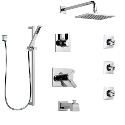 Delta Vero Chrome Tub and Shower System with Dual Thermostatic Control, 6-Setting Diverter, Showerhead, 3 Body Sprays, and Hand Shower SS17T45323