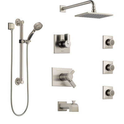 Delta Vero Stainless Steel Finish Dual Thermostatic Control Tub and Shower System, Diverter, Showerhead, 3 Body Jets, Grab Bar Hand Spray SS17T4532SS2