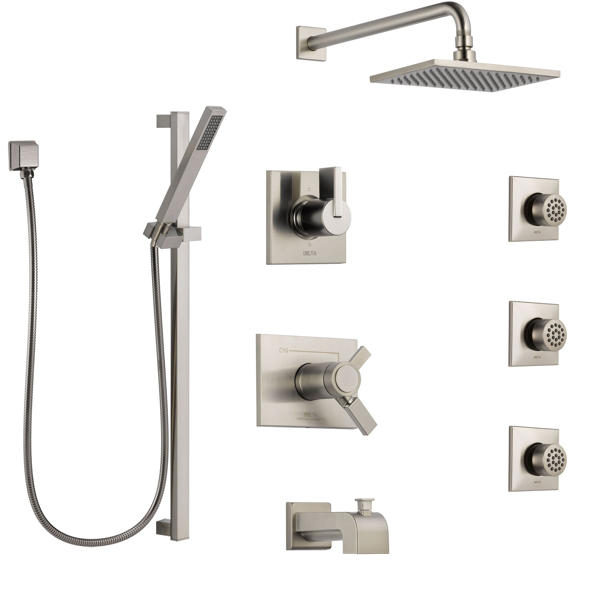 Delta Vero Stainless Steel Finish Dual Thermostatic Control Tub and Shower System, Diverter, Showerhead, 3 Body Sprays, and Hand Shower SS17T4532SS3