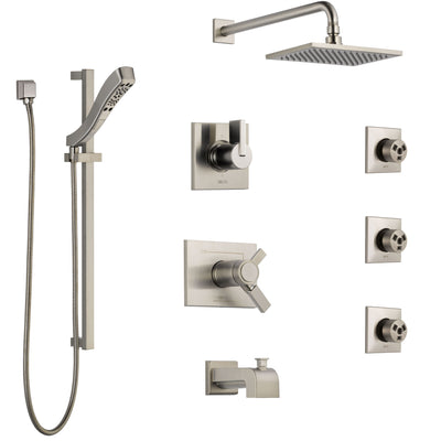Delta Vero Stainless Steel Finish Dual Thermostatic Control Tub and Shower System, Diverter, Showerhead, 3 Body Sprays, and Hand Shower SS17T4532SS5