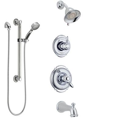 Delta Victorian Chrome Tub and Shower System with Dual Thermostatic Control Handle, Diverter, Showerhead, and Hand Shower with Grab Bar SS17T45513