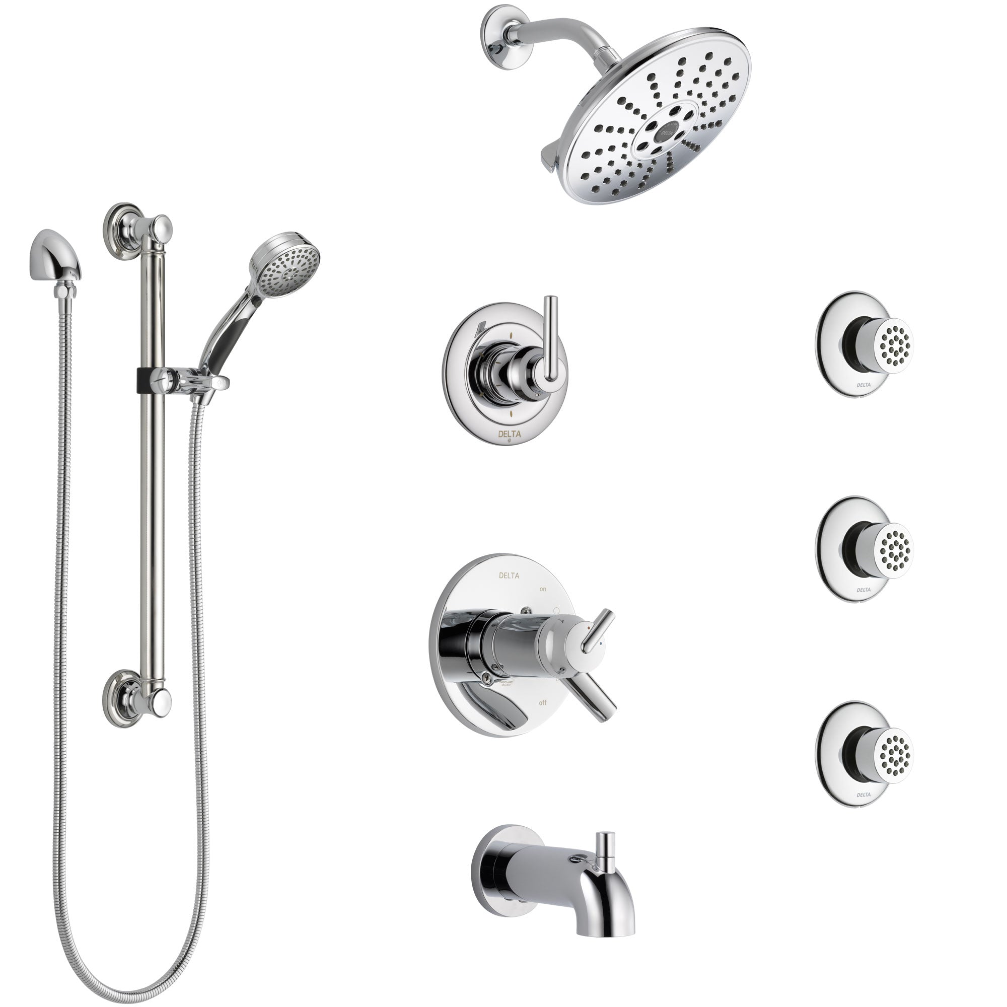 Delta Trinsic Chrome Dual Thermostatic Control Tub and Shower System, Diverter, Showerhead, 3 Body Sprays, and Hand Shower with Grab Bar SS17T45911