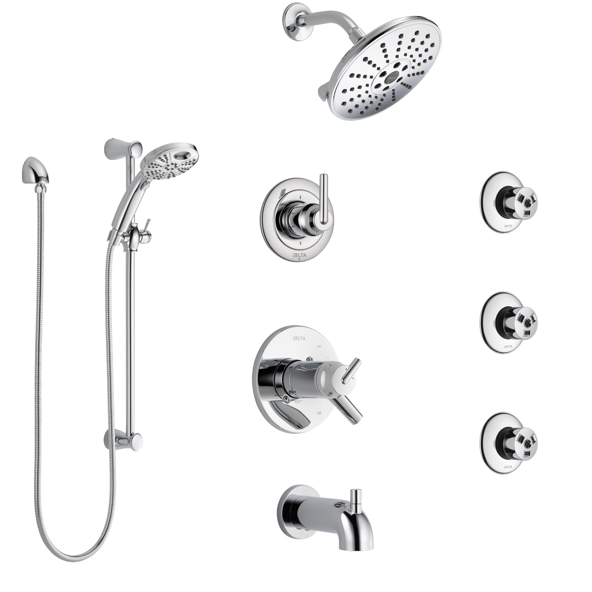 Delta Trinsic Chrome Tub and Shower System with Dual Thermostatic Control, Diverter, Showerhead, 3 Body Sprays, and Temp2O Hand Shower SS17T45913