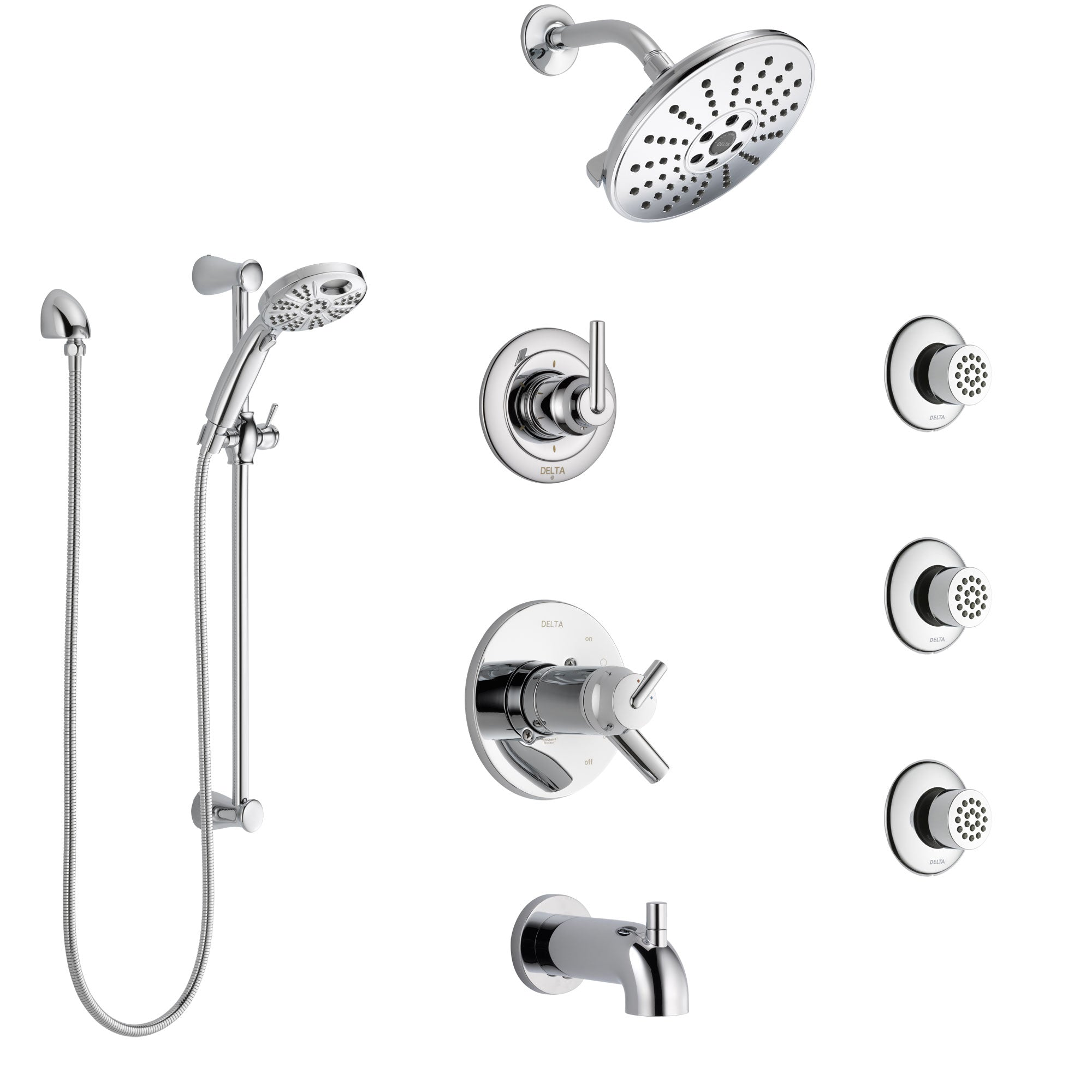 Delta Trinsic Chrome Tub and Shower System with Dual Thermostatic Control, Diverter, Showerhead, 3 Body Sprays, and Temp2O Hand Shower SS17T45914