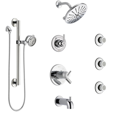 Delta Trinsic Chrome Dual Thermostatic Control Tub and Shower System, Diverter, Showerhead, 3 Body Sprays, and Hand Shower with Grab Bar SS17T45915