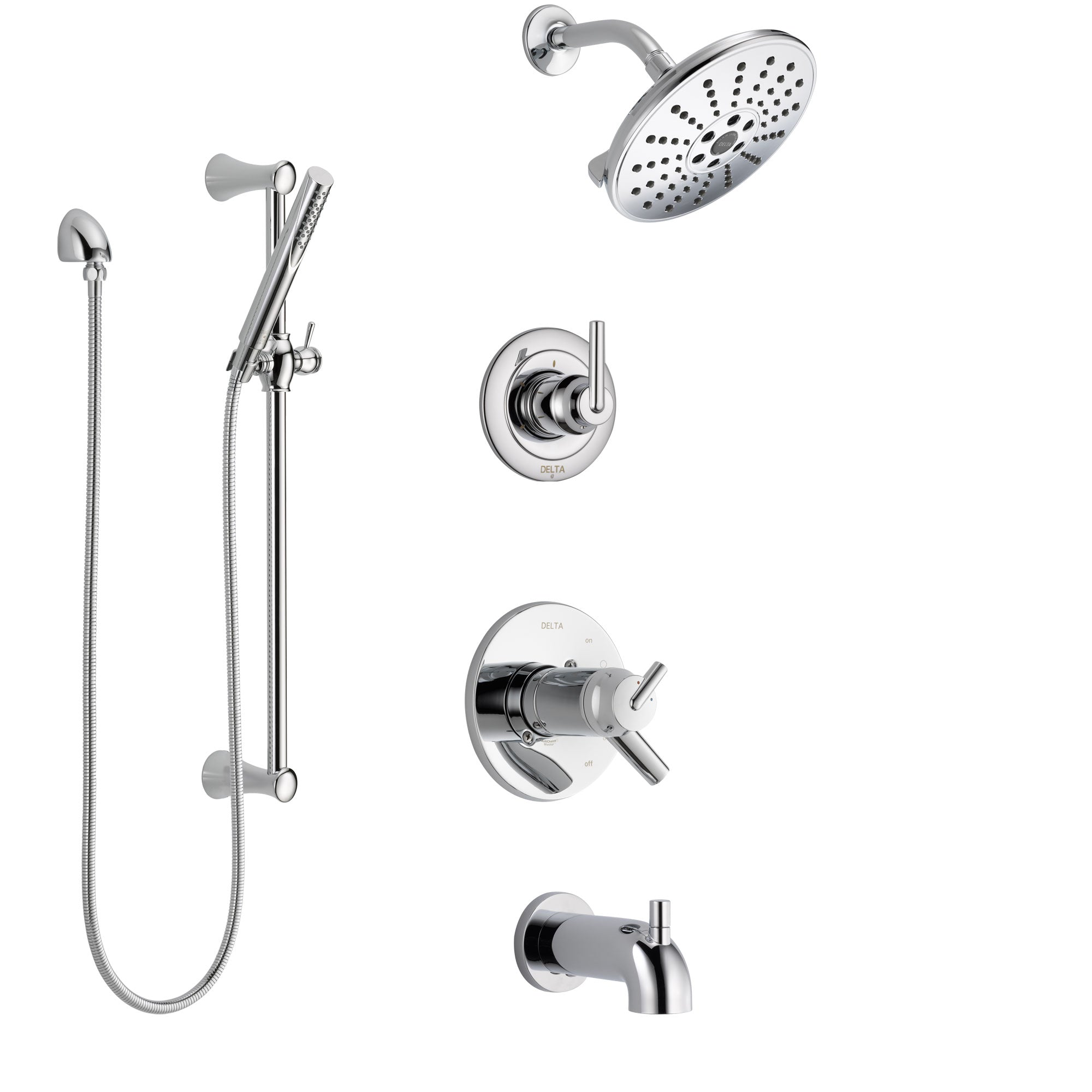 Delta Trinsic Chrome Finish Tub and Shower System with Dual Thermostatic Control Handle, Diverter, Showerhead, and Hand Shower SS17T45925