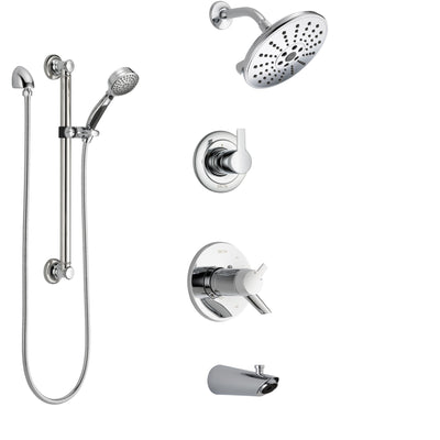 Delta Compel Chrome Finish Tub and Shower System with Dual Thermostatic Control Handle, Diverter, Showerhead, and Hand Shower with Grab Bar SS17T46113