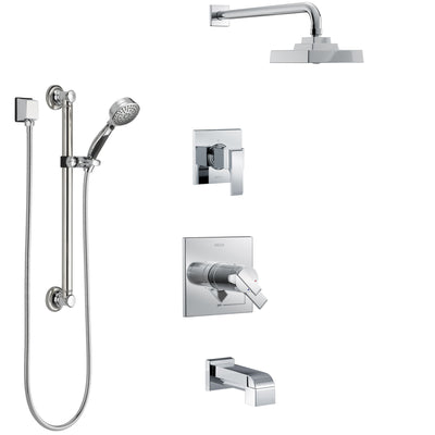 Delta Ara Chrome Finish Tub and Shower System with Dual Thermostatic Control Handle, Diverter, Showerhead, and Hand Shower with Grab Bar SS17T46713