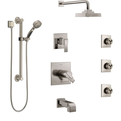 Delta Ara Stainless Steel Finish Dual Thermostatic Control Tub and Shower System, Diverter, Showerhead, 3 Body Jets, Grab Bar Hand Spray SS17T4671SS2