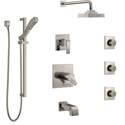 Delta Ara Stainless Steel Finish Dual Thermostatic Control Tub and Shower System, Diverter, Showerhead, 3 Body Sprays, and Hand Shower SS17T4671SS5