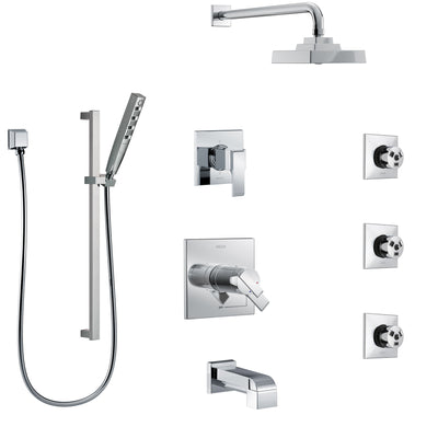 Delta Ara Chrome Tub and Shower System with Dual Thermostatic Control, 6-Setting Diverter, Showerhead, 3 Body Sprays, and Hand Shower SS17T46724