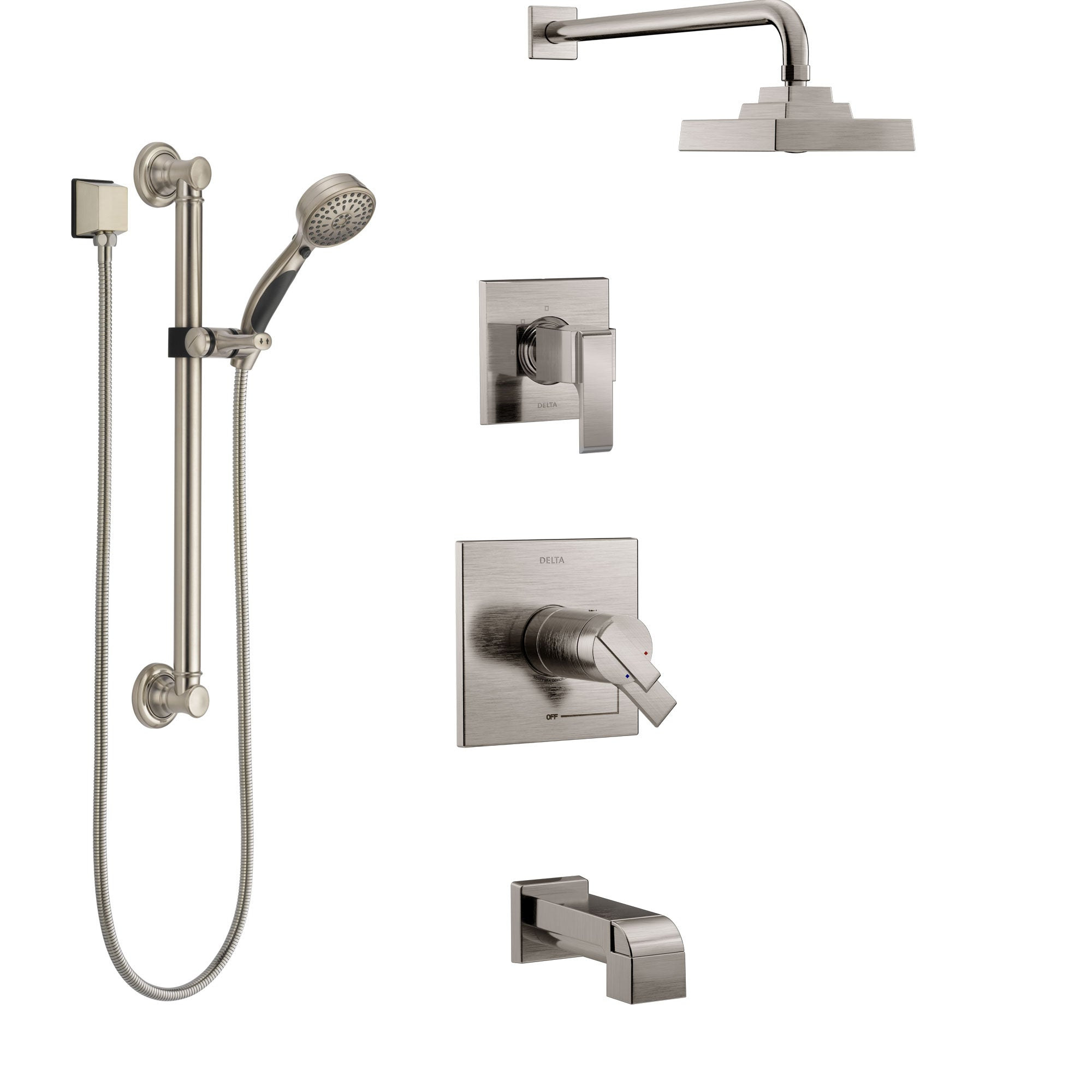 Delta Ara Stainless Steel Finish Dual Thermostatic Control Tub and Shower System, Diverter, Showerhead, and Hand Shower with Grab Bar SS17T4672SS3