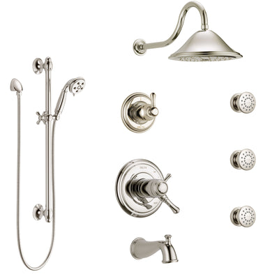 Delta Cassidy Polished Nickel Tub and Shower System with Dual Thermostatic Control, Diverter, Showerhead, 3 Body Sprays, and Hand Shower SS17T4971PN1