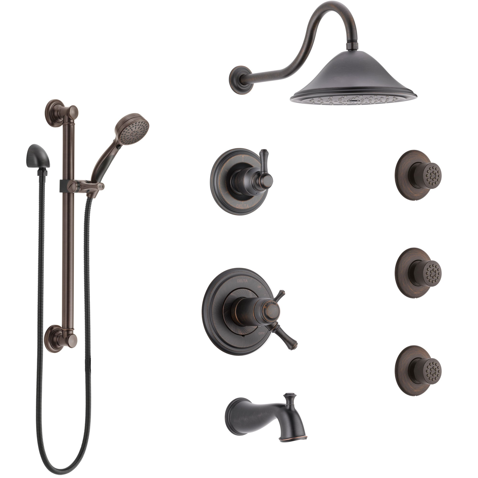 Delta Cassidy Venetian Bronze Dual Thermostatic Control Tub and Shower System, Diverter, Showerhead, 3 Body Sprays, Grab Bar Hand Spray SS17T4971RB1