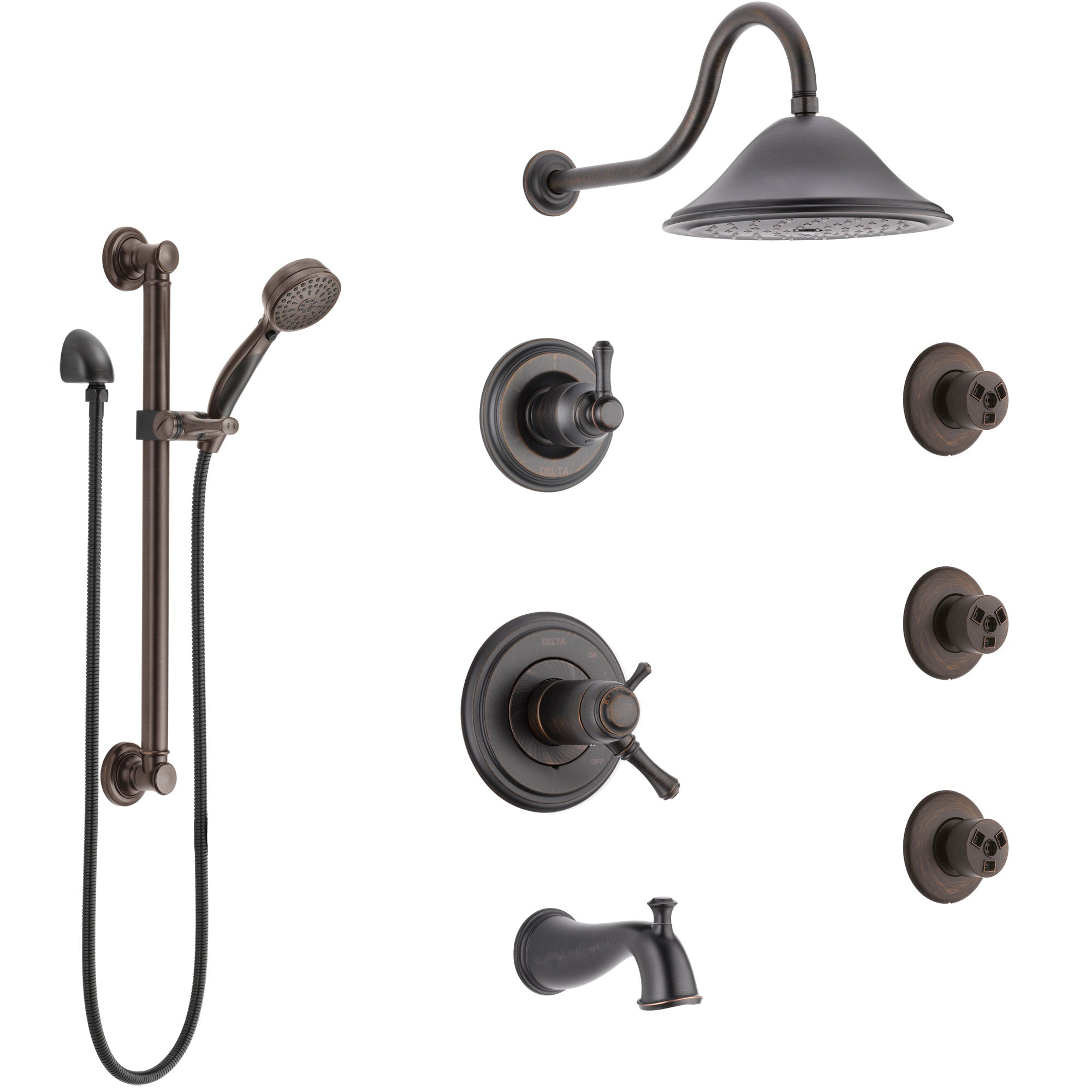 Delta Cassidy Venetian Bronze Dual Thermostatic Control Tub and Shower System, Diverter, Showerhead, 3 Body Sprays, Grab Bar Hand Spray SS17T4971RB2