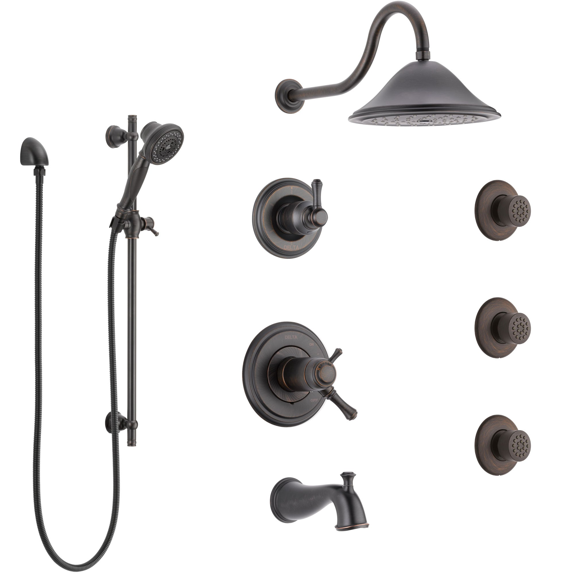 Delta Cassidy Venetian Bronze Tub and Shower System with Dual Thermostatic Control, Diverter, Showerhead, 3 Body Sprays, and Hand Shower SS17T4971RB4