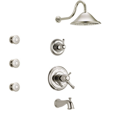 Delta Cassidy Polished Nickel Tub and Shower System with Dual Thermostatic Control Handle, Diverter, Showerhead, and 3 Body Sprays SS17T4972PN1