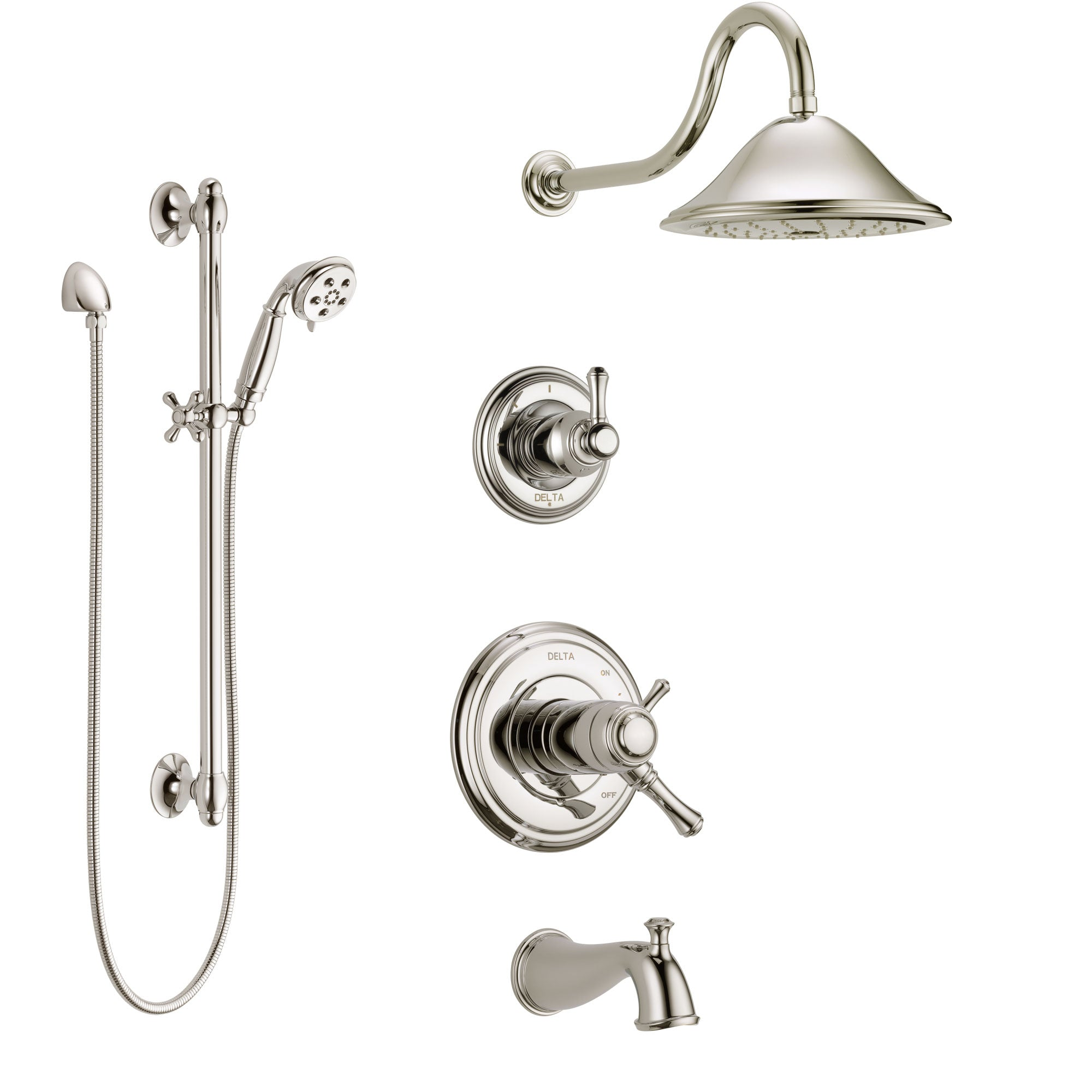 Delta Cassidy Polished Nickel Tub and Shower System with Dual Thermostatic Control Handle, Diverter, Showerhead, and Hand Shower SS17T4972PN2