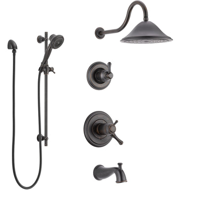 Delta Cassidy Venetian Bronze Tub and Shower System with Dual Thermostatic Control Handle, Diverter, Showerhead, and Hand Shower SS17T4972RB5