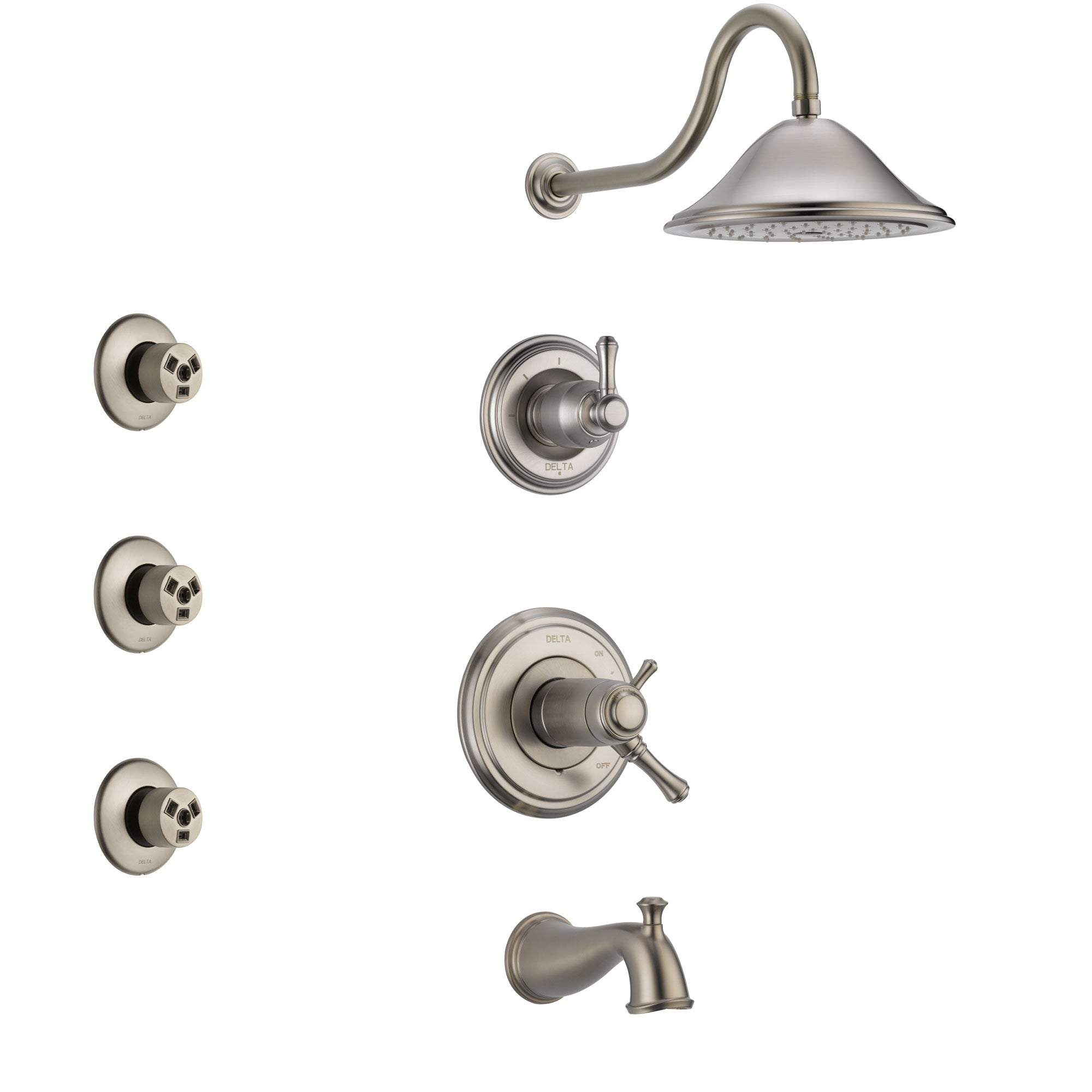 Delta Cassidy Stainless Steel Finish Tub and Shower System with Dual Thermostatic Control Handle, Diverter, Showerhead, and 3 Body Sprays SS17T4972SS1