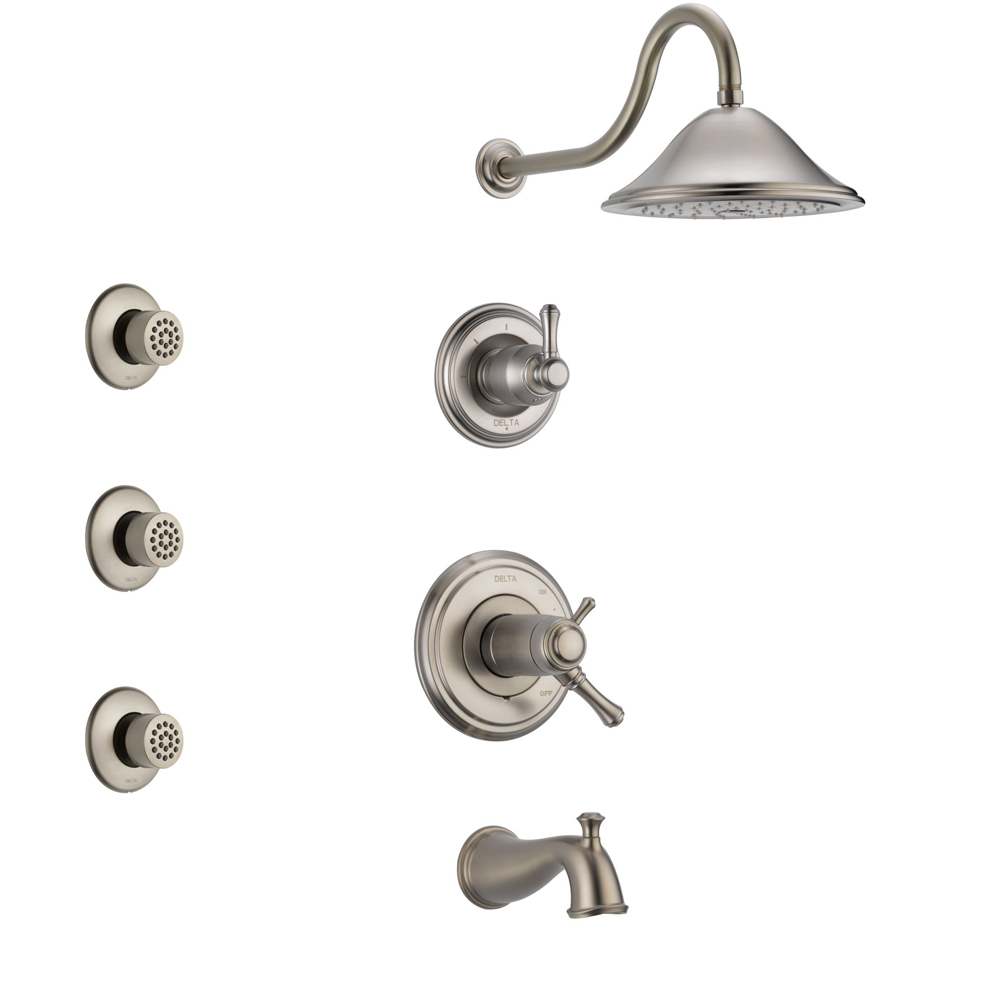 Delta Cassidy Stainless Steel Finish Tub and Shower System with Dual Thermostatic Control Handle, Diverter, Showerhead, and 3 Body Sprays SS17T4972SS2