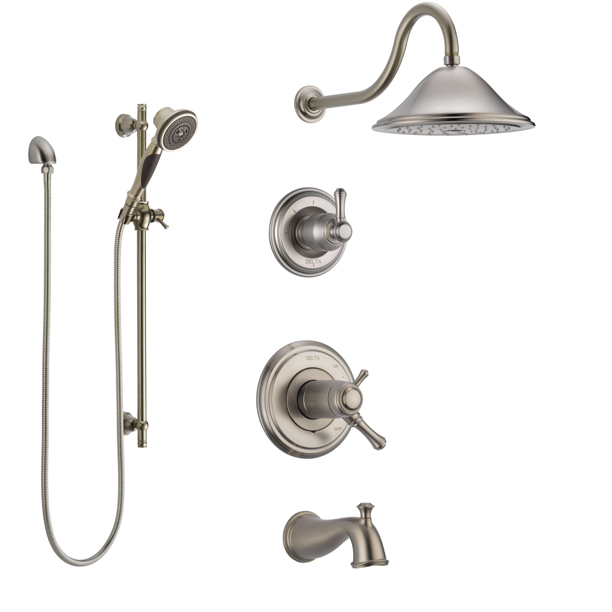 Delta Cassidy Stainless Steel Finish Tub and Shower System with Dual Thermostatic Control Handle, Diverter, Showerhead, and Hand Shower SS17T4972SS5